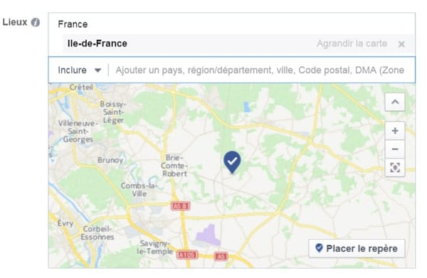 Facebook ciblage region