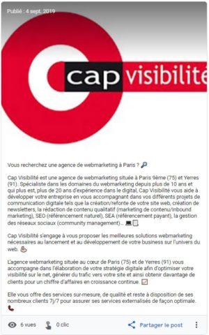 post Google My Business de Cap Visibilité
