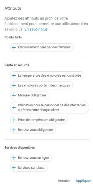 attributs tags d'une fiche google my business